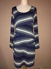 Max Studio Navy Blue Ivory Green Polyester Spandex Stretchy Long Sleeve Dress L