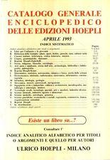 G14 Catalogo Generale Enciclopedico delle Edizioni Hoepli 1993
