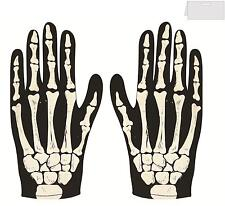 ADULT BONE PRINT SKELETON GLOVES  ZOMBIE HORROR HALLOWEEN COSTUME ACCESSORY