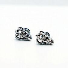2PCs Stainless Steel Punk Gothic Skeleton Skull Head Crown Ear Earrings Stud