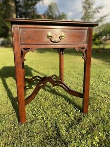 Statton TruType Old Towne Chippendale Cherry End Side Occasional Table 1 Drawer