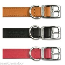 Ancol Leather Dog Collar Heritage Puppy Handsewn Red / Black / Tan or Studded