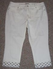 COLDWATER CREEK White Denim Natural Fit Cropped Capris Jeans Cuffs Size 16 NWOT
