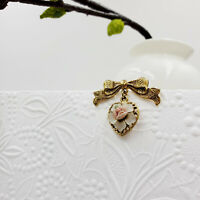 Old 1928 Brand Heart + Roses & Bow Pin Costume Vintage Jewelry Gold Tone Brooch
