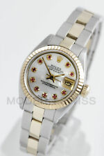 Rolex Ladies Datejust Gold & Steel MOP Ruby Diamond Dial Oyster Perpetual 2Tone