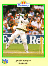 BUTTERCUP 1995 JUSTIN LANGER Bat AUSTRALIA ACB Australian Cricket Card