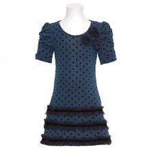 Bonnie Jean Girl Dress Teal Black Polka Dot Winter Party Christmas Holiday 16 XL