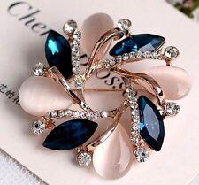 Brosche Blüte Türkis Opal  Gold elegant klar Weiß Strass Glasskristall Geschenk