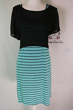 Kensie Chiffon Popover Stripe Jersey Dress Size L New NWT