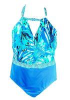 Swimsuit Womens Plus Size 22w One Piece 2X Bathing suit Clean Water Floral Blue