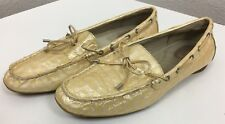 Women's Sperry Top-Sider Cream Leather Faux Alligator Boat Shoes 8.5m Clean!
