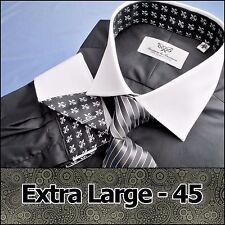 Mens Black Poplin Formal Business Dress Shirt White Contrast French Cuff XL 45