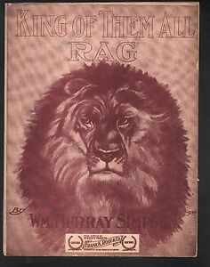 King of Them All Rag 1909 Large Format Sheet Music