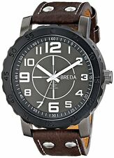 NEW Breda 1658B Mens Black Luminous Dial Brown Studded Leather Calfskin SS Watch