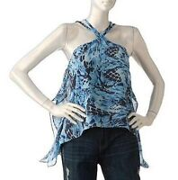 NWT Jennifer Lopez Blue Feather Shark Bite Halter Tank Top Women's XSmall