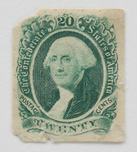 Confederate States 20c George Washington 1863 Scott #13 Green Imperforate MNG