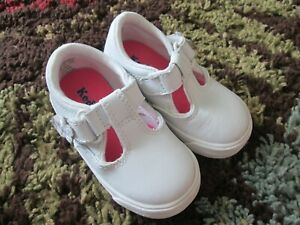 Keds Toddler Girls Shoes Daphne T-Strap Lea White Leather Sz 4.0W ~~Ships FREE