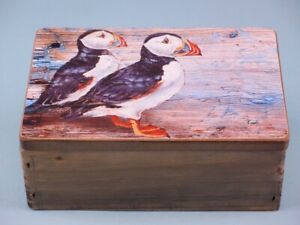 Puffin Bird Wood Trinket Box Seaside Nautical Theme Trinket Box Puffin Birds Box