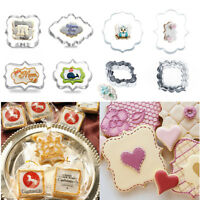 4Pcs Stainless Steel Fancy Plaque Frame Cookie Cutter Cake Pastry Fondant Mould