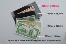 5 x NEW Banknote MINISHEET Stamps Holders Black underlayed one side 120mmx200mm