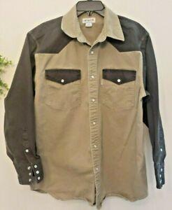 Carhartt Long Sleeve Work Shirt Ironwood Twill Western Pearl Snap Mens Sz Large