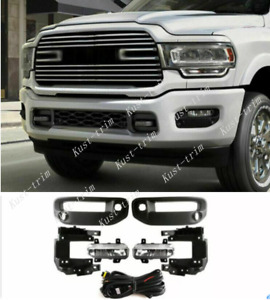 FOR 2020-2021 RAM 2500 with Switch Bezel Wire Harness LED Fog Lights Kit trim