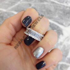 Women 2CT 14K White Gold Over Baguette Cut Diamond Wedding Band Ring Channel Set