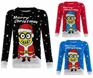 Womens Ladies Knitted Long sleeves Minion Christmas Xmas Kids Jumper Top Sweater