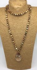 Fashion natural knotted picture Jasper Stones crystal pendant necklace gift
