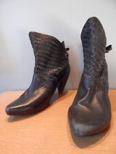 Black Leather Ankle Heels Boots Bow Tie Herringbone Basket Weaved Retro New Wave