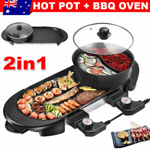 Electric 2 in 1 Hot Pot Hotpot BBQ Grill Oven Smokeless Barbecue Pan Machine AU