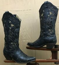 Vintage Corral Women's Cutout Distressed Embroidered Cowboy Western Black Sz 7.5