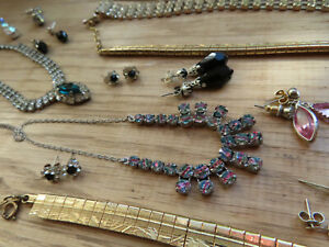 1950's Collection of Rhinestone Necklaces, Earrings, bracelet & Watch