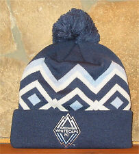 adidas MLS VANCOUVER WHITECAPS SOCCER Cuffed Knit Blue POM Winter Hat Toque