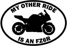 """RIDE YAMAHA FZ6R MOTORCYCLE Vinyl Decal Sticker-6"""" Wide White Color"""