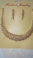 Gold colour AB Diamante set - Diamante Necklace & earrings set wedding prom
