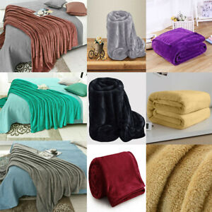 Fleece Blanket Large Sofa Throw Soft Warm Faux Fur Mink Double & King Size
