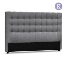 Artiss King Size Upholstered Fabric Headboard - Grey