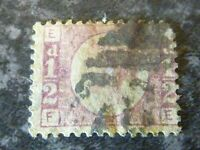 GB QV POSTAGE STAMP SG48/9 1/2D PLATE 10 ROSE/ROSE RED FINE USED