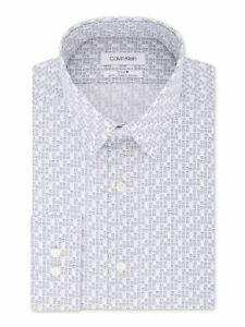 CALVIN KLEIN Mens White Check Collared Slim Fit Dress Shirt M 15- 34/35