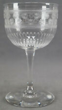 Set of 8 Needle Engraved Daisies & Rouletted Bands Crystal Dessert Wines C. 1920
