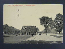 Ft. Snelling Minnesota MN Old Round Tower Railroad Train Antique Postcard 1913