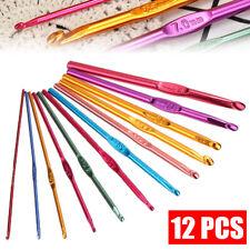 12Pcs Aluminum 2.0-8.0mm Crochet Hook Craft Knitting Yarn Needles Sizes Set US