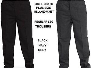 BOYS/MEN STURDY FIT SCHOOL TROUSERS RELAXED WAIST PLUS SIZE REGULAR LEG SM/6XL