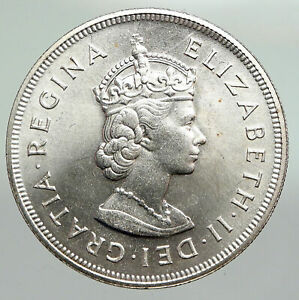 1959 BERMUDA British Colony Elizabeth II LARGE Boats Silver 1 Crown Coin i92247