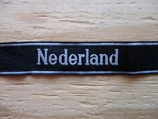 "German WWII Elite Force Sleeve Band ""NEDERLAND"" Bevo Woven"