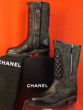 NIB CHANEL WOOL BLACK QUILTED LEATHER CC LOGO  2X ZIP TALL BOOTS 40 $2350