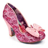 NEW IRREGULAR CHOICE *NICK OF TIME* PINK GLO (AO) GLITTER BOW FLORAL PRINT