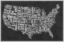USA Airports Abbreviation Code Grey Mural - Poster 36x54 inch