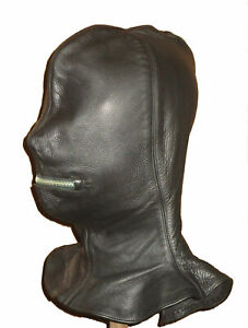 Real leather suffocating mask hood gimp cuir slave air tight kink Theatre Escap
